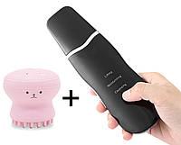 Скрабер ультразвуковой для чистки и фонофореза Black Owl черный + отшелушивающая силиконовая щеточка для