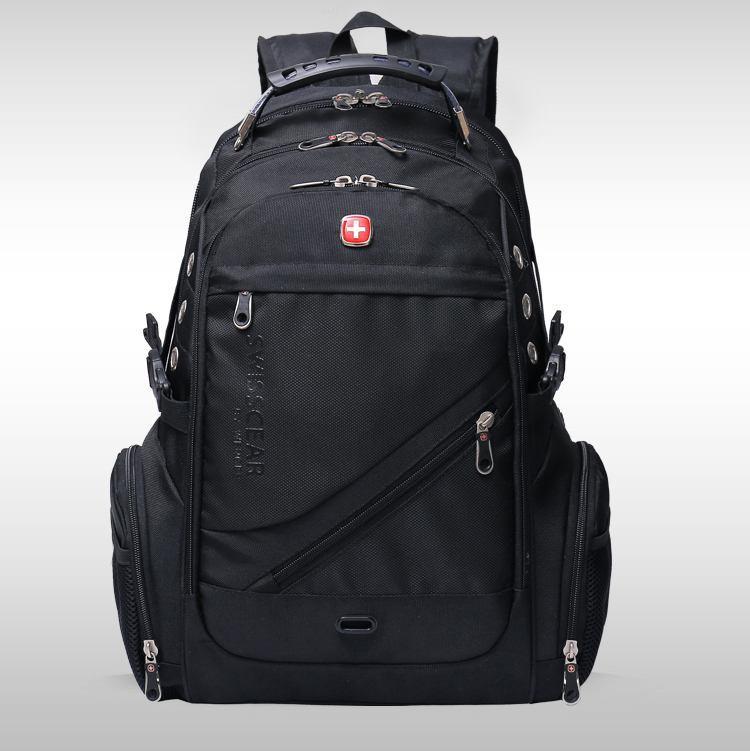 Місткий рюкзак з жорсткою спинкою. Чорний. + Дощовик. 35L / s8810-3 black