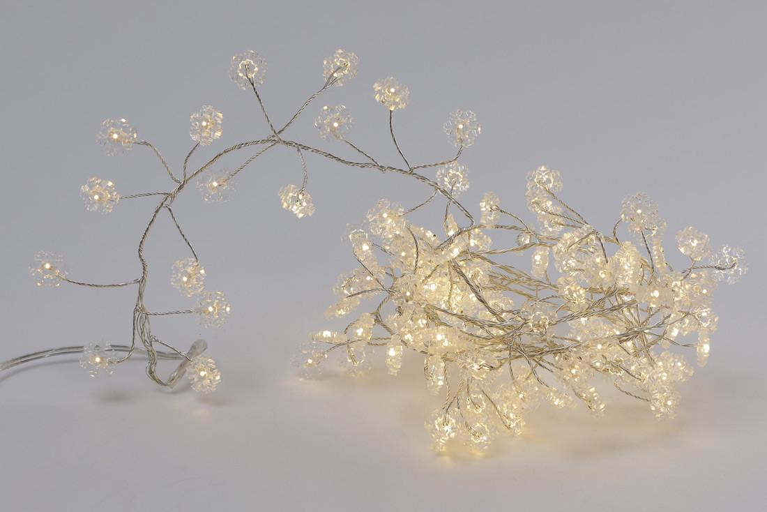 """Гирлянда """"Снежинка"""" кластер, нить с декором, 120 мини-LED: 1 линия 1,5 метра, тепло-белый"""