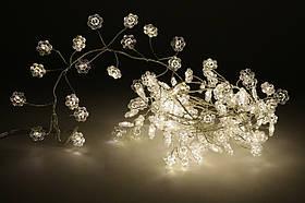 """Гирлянда """"Снежинка"""" кластер, нить с декором, 120 мини-LED: 1 линия 1,5 метра, тепло-белый, фото 3"""