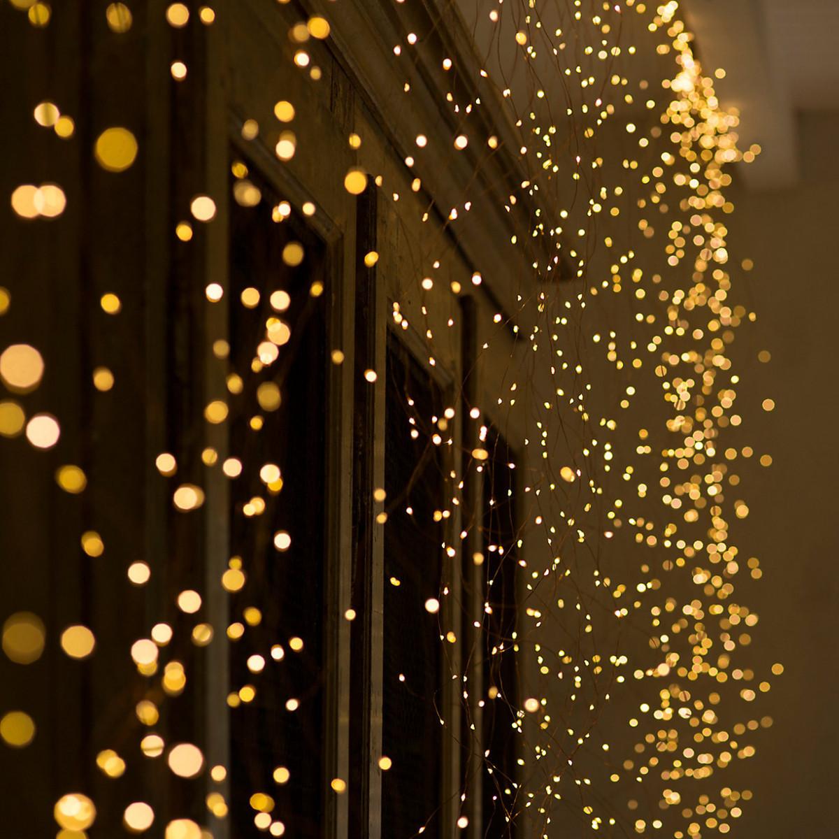 "Гирлянда уличная ""Конский хвост"" 200 LED: 10 линий по 2 м, 20 диодов цвет - тёпло-белый, динамический режим,"