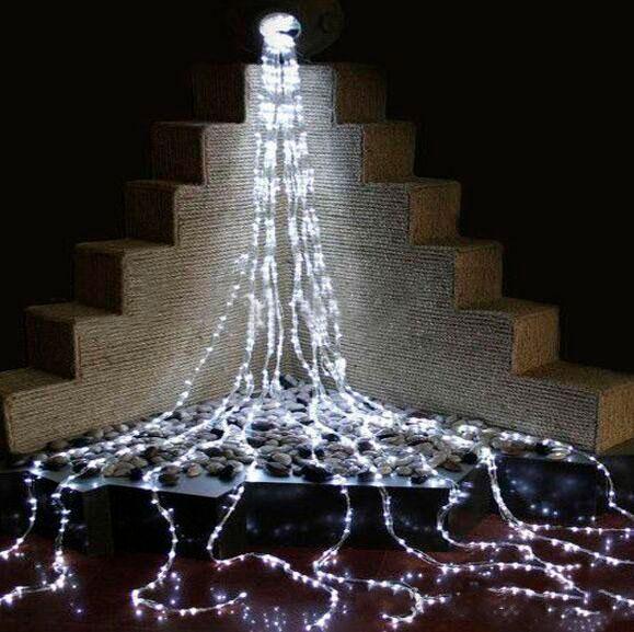 Водопад 3х1 Гирлянда Штора 300 Led - Дождь на прозрачном проводе, цвет белый холодный, есть соединение