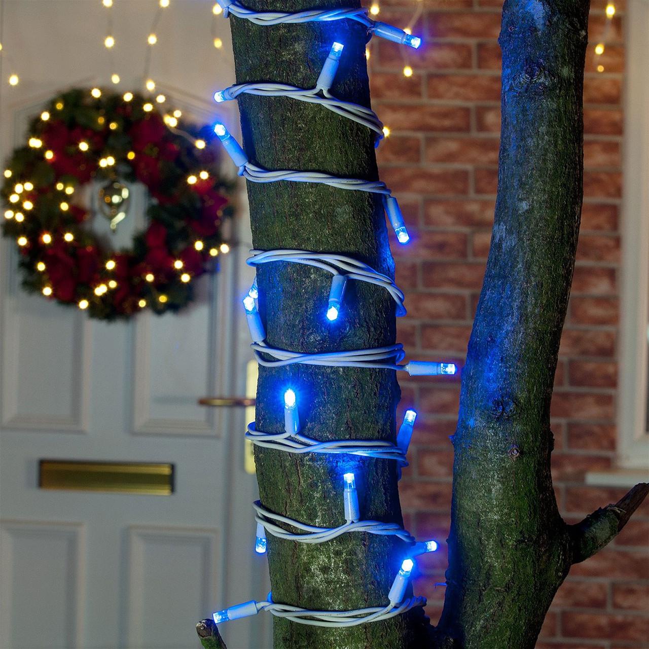 Уличная Гирлянда светодиодная нить, 10 м, 100 led белый каучуковый провод - цвет синий мерцающий