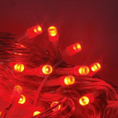 Уличная Гирлянда светодиодная нить, 10 м, 100 led белый каучуковый провод - цвет красный мерцающий эффект