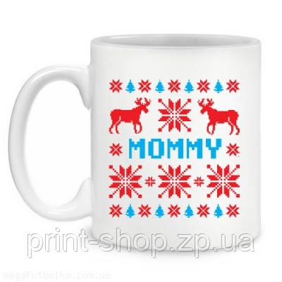 """Чашка """"Новорічний візерунок з оленями Mommy"""" / друк на чашках"""