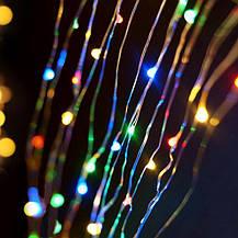 """Штора на медной проволоке """"Капля росы"""" 2х2м, 200 led цвет разноцветный гирлянда на Новый год, фото 3"""