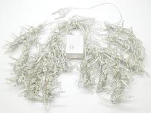 Гирлянда Бахрома на прозрачном проводе 3 x 0,7м 140 led тепло-белый цвет, переходник, фото 3
