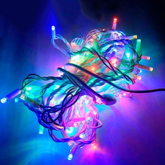 Уличная Гирлянда светодиодная нить, 20 м 200 led белый каучуковый провод, разноцветный