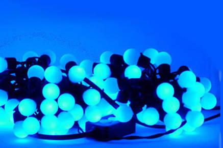 Гирлянды нить - шарики 10 М, 100 LED — синего цвета, фото 2