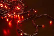 Гирлянда уличная светодиодная нить, 10 м - цвет красный, черный провод для украшений фасада, фото 2