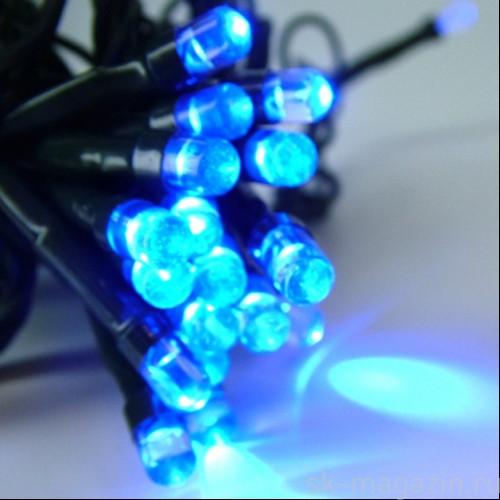 Гирлянда светодиодная нить, 5 м - цвет синий на черный проводе