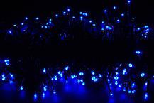 Гирлянда светодиодная нить, 5 м - цвет синий на черный проводе, фото 3