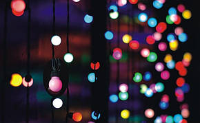 Разноцветная Гирлянда Шарики Штора - штора на черном проводе 3 x 1 м 100 led мультиколор, занавес Плей Лайт, фото 2