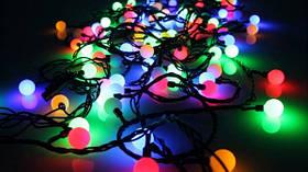 Разноцветная Гирлянда Шарики Штора - штора на черном проводе 3 x 1 м 100 led мультиколор, занавес Плей Лайт, фото 3