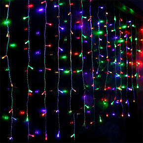 Штора 1.5х1.2м 144 led прозрачный провод, цвет разноцветный - декоративная гирлянда на Новый год, фото 2