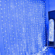 Штора 2х2м 320 led, цвет синий 8 режимов - декоративная гирлянда на Новый год, фото 3