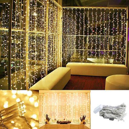 Штора 3х3м 300 led, цвет тепло-белый - декоративная гирлянда на Новый год, переходник, фото 2