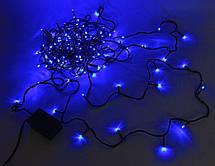 Внутренняя Гирлянда светодиодная нить, 100 led черный провод - цвет синий 7 м, фото 3