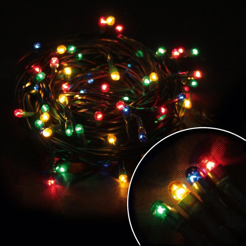 """Гирлянда светодиодная нить """"Мini lamp"""", 400 led, 20 м черный провод - цвет разноцветный"""