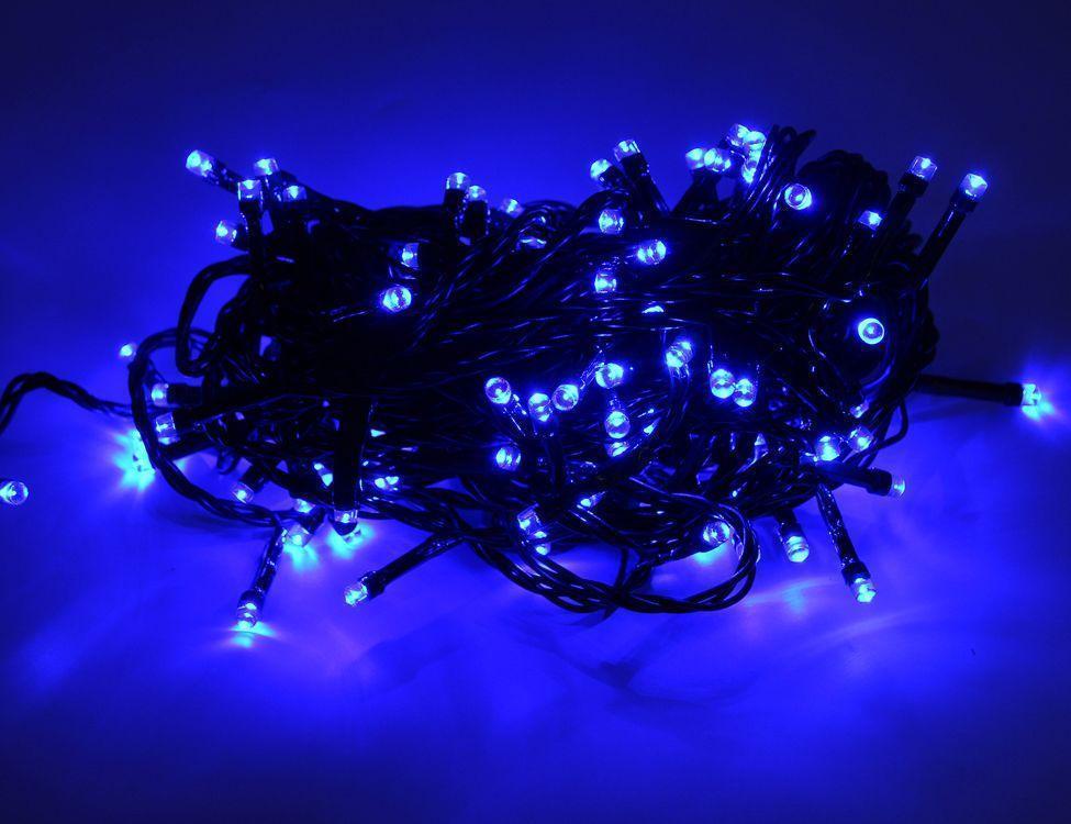 Внутренняя Гирлянда светодиодная нить 25м, 500 led черный провод - цвет синий