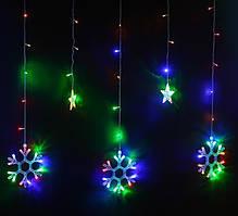 """Гирлянда Бахрома, занавес """"Звезды и Снежинки"""" на прозрачном проводе 3х1м, цвет разноцветный"""