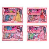 Кукла с нарядом 913-1-2-3-4   27см,  платья10шт,  аксессуары,  микс видов,  в кор-ке,  45-30-6см