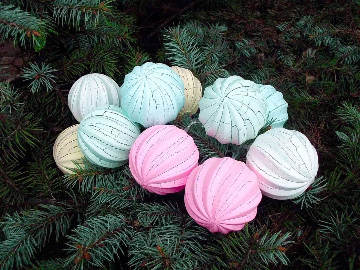 Гирлянда из шариков Новогодняя зефирка (новогодняя гирлянда маршмелло): 10 LED, длина 2 метра