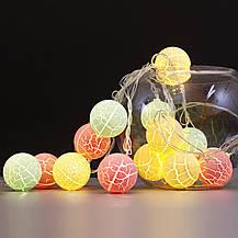 Гирлянда из шариков Новогодняя зефирка (новогодняя гирлянда маршмелло): 10 LED, длина 2 метра, фото 2
