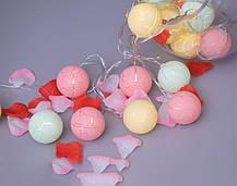 Гирлянда из шариков Новогодняя зефирка (новогодняя гирлянда маршмелло): 10 LED, длина 2 метра, фото 3