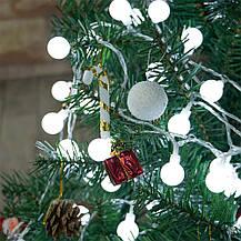 Новогодняя светодиодная гирлянда Шарики: 80 ламп, 12 метров (белый цвет), фото 3