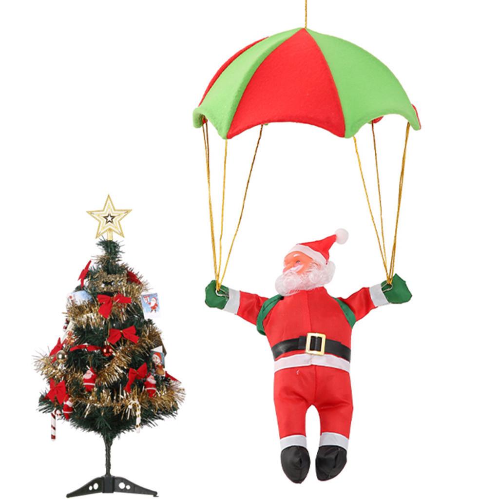 Дед Мороз на парашюте (Санта Клаус на зонтике парит в воздухе): фигурка 40см на парашюте 55см