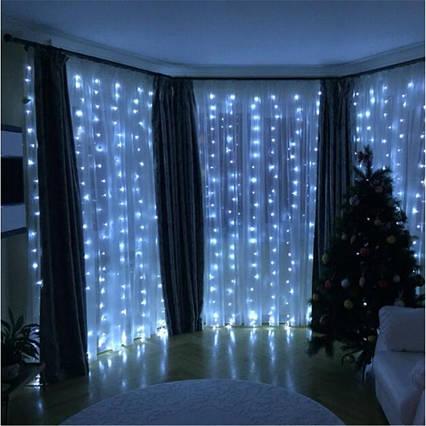 Светодиодная гирлянда штора LED 120 лампочек с коннектором: размер 2х1,5м ( 4 цвета), фото 2