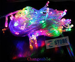 Новогодняя cветодиодная гирлянда LED 200 лампочек (13м): разноцветная гирлянда