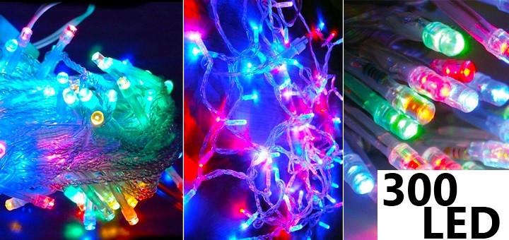Новогодняя cветодиодная гирлянда LED 300 лампочек (20м): микс цветов Мульти