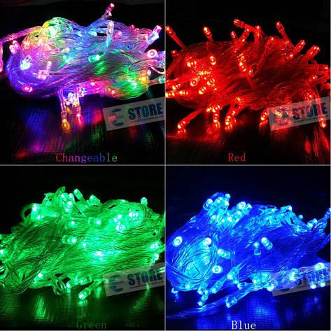 Новогодняя cветодиодная гирлянда LED 200 лампочек (13м): 6 цветов Теплый белый, фото 2