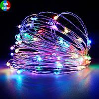 Новогодняя cветодиодная гирлянда проволка на батарейках LED 100 лампочек: длина 10м, мульти цвет