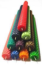 Свечи из цветной вощины катаные ручной работы (высота 26 см диаметр 2,3 см) Красный