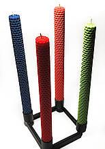 Свечи из цветной вощины катаные ручной работы (высота 26 см диаметр 2,3 см) Черный