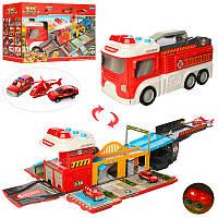 Гараж E5018F   пожарн, в виде автобуса38см, трансп3шт, от7см, зв(англ), св, на бат, в кор, 46-28, 5-17см