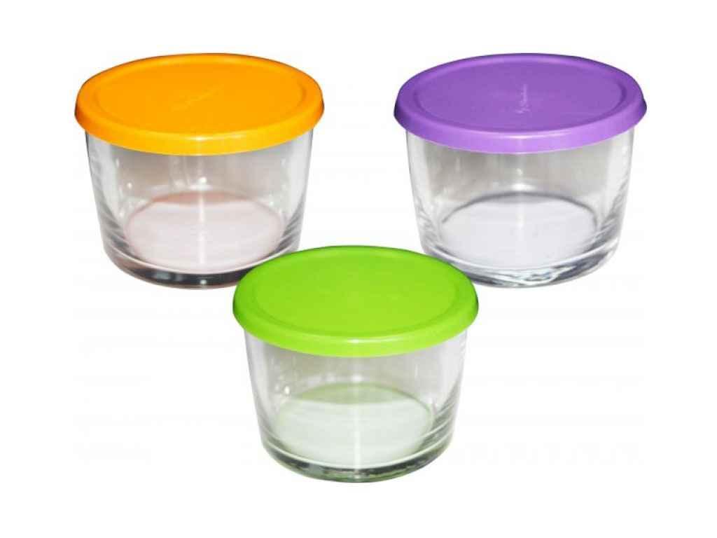 Набір контейнерів з кольоровими кришками (3шт) 220мл BASIC 98740 ТМPASABAHCE