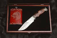 """Особенный подарок любимому мужу - """"Gift box Волк"""", с красивым ножом ручной работы и флягой"""