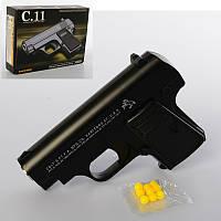 Пистолет C11   металл,  на пульках,  12, 5см,  в кор-ке,  17-12, 5-4см