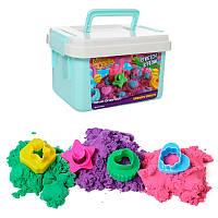Песок для творчества LS-27  450г,  3цв,  формочки-сладости5шт,  в чемодане, 20, 5-12, 5-14см