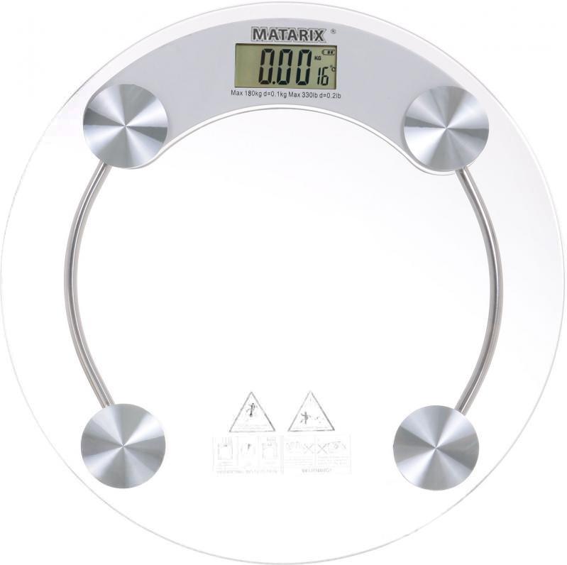 Весы напольные стеклянные Matarix MX-451A (круглые) на 180 кг с термометром (0376)