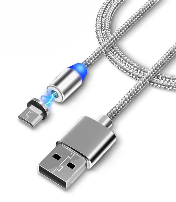 Магнитный кабель micro USB для Android M3 Silver (4991)