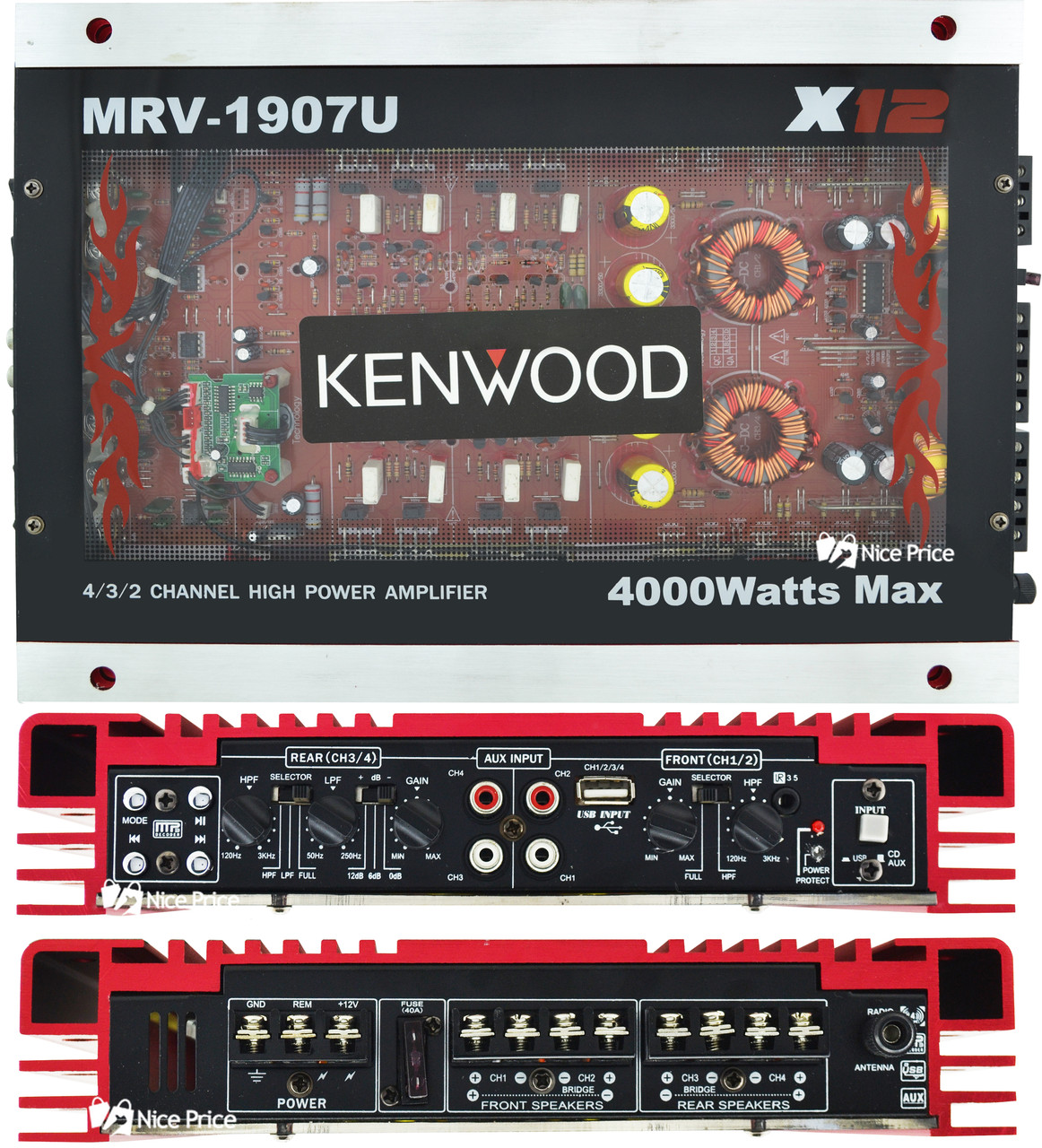 Автомобильный 4-канальный усилитель звука Kenwood MRV-1907 4000W Silver/Red (4833)
