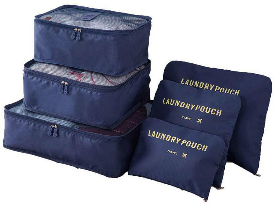 """Комплект дорожных органайзеров для путешествий в чемодан / сумку """"Travel"""" (6 шт) Dark Blue (3360)"""