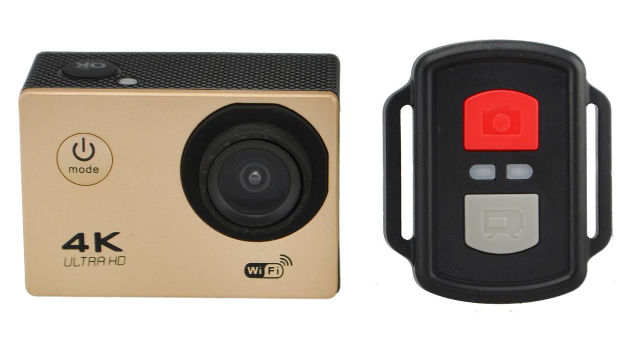 Экшн камера с пультом 4K V3R Wi Fi с аквабоксом и пультом Gold (11810)