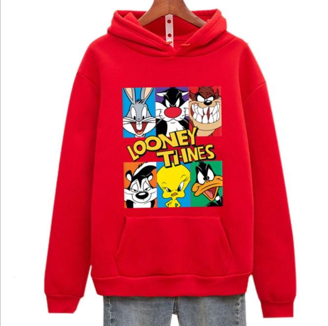 Яскрава толстовка худі флісова кофта з капюшоном для дівчинки підлітка 12 -14 років з принтом Looney Tunes