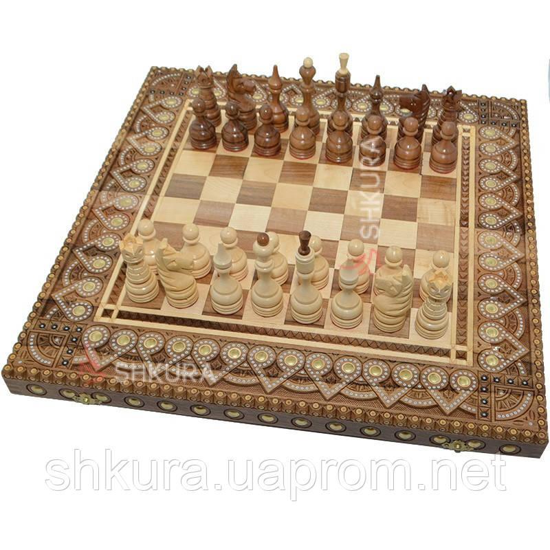Шахи сувенірні 50х50 см. Бісер+Мідь.